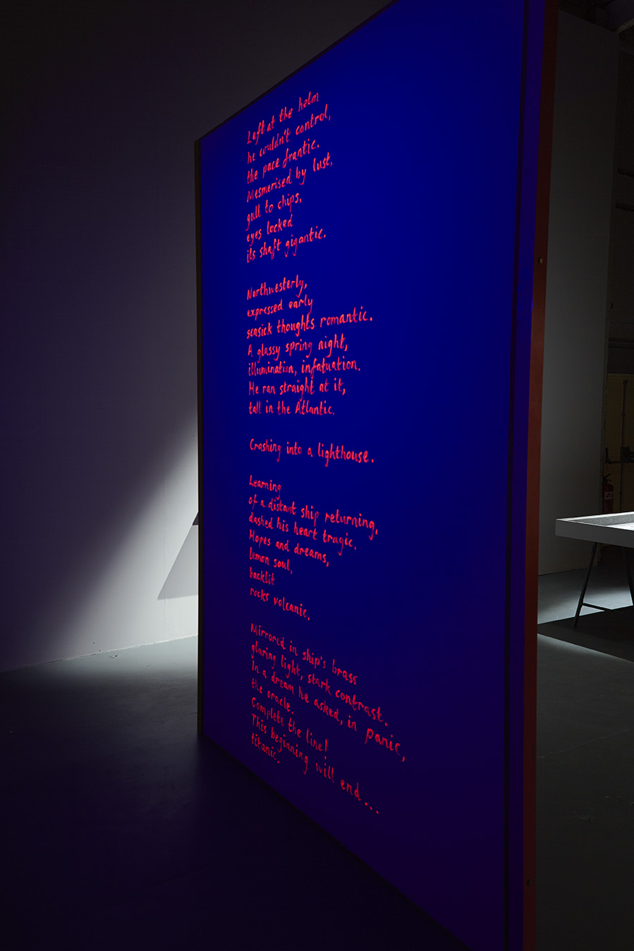 Frantic Romantic (darkroom poem) , UV acrylic, height 280cm  Installation view  Frantic Romantic , Second Gallery, Eastside Projects