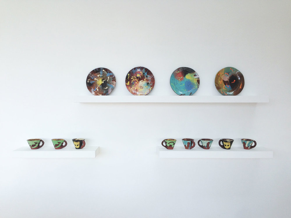 Installation view, Newlyn Art Gallery, Spin & sperm plates  / Pasty-handle mugs (Tropical / Grindr / Lighthouse)