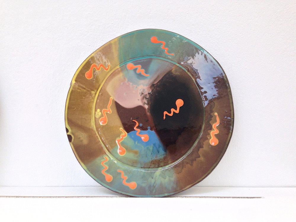 Spin & sperm plate , 2017, slipware, diameter 28cm
