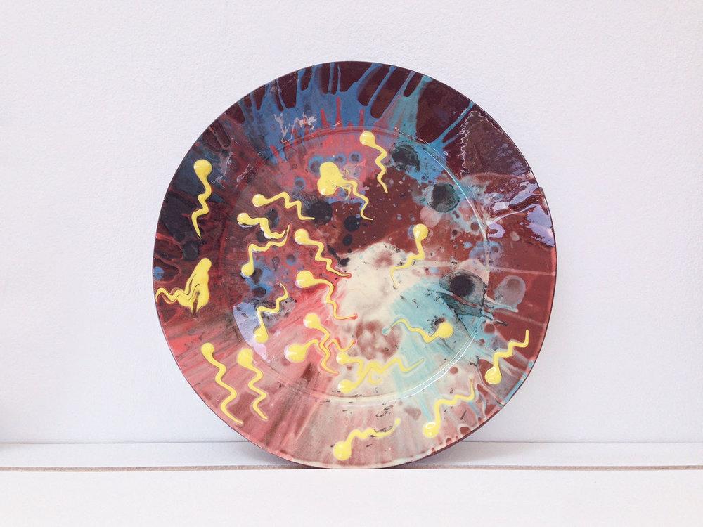 Spin & sperm plate,  2017, slipware, diameter 28cm