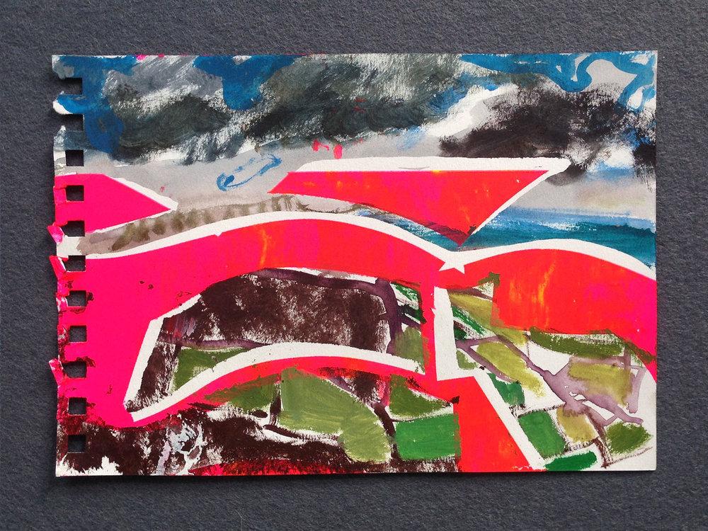 En plein air painting (St Ives) , 2017,watercolour on paper, 15 x 21cm