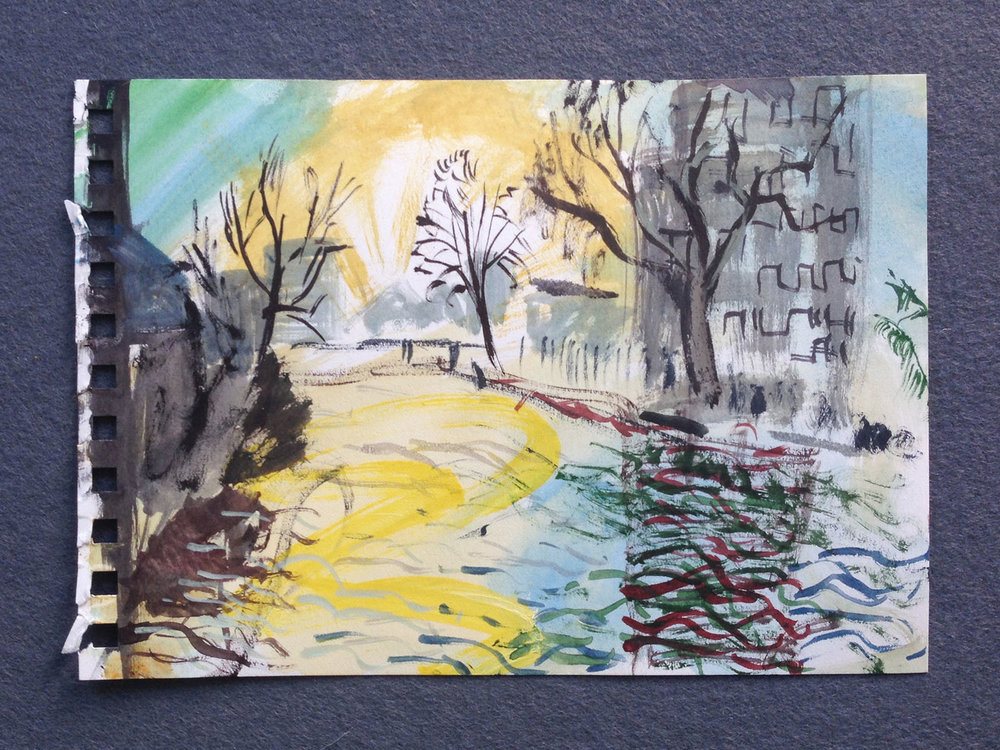 En plein air painting (Victoria Park),  2017, watercolour on paper, 15 x 21cm