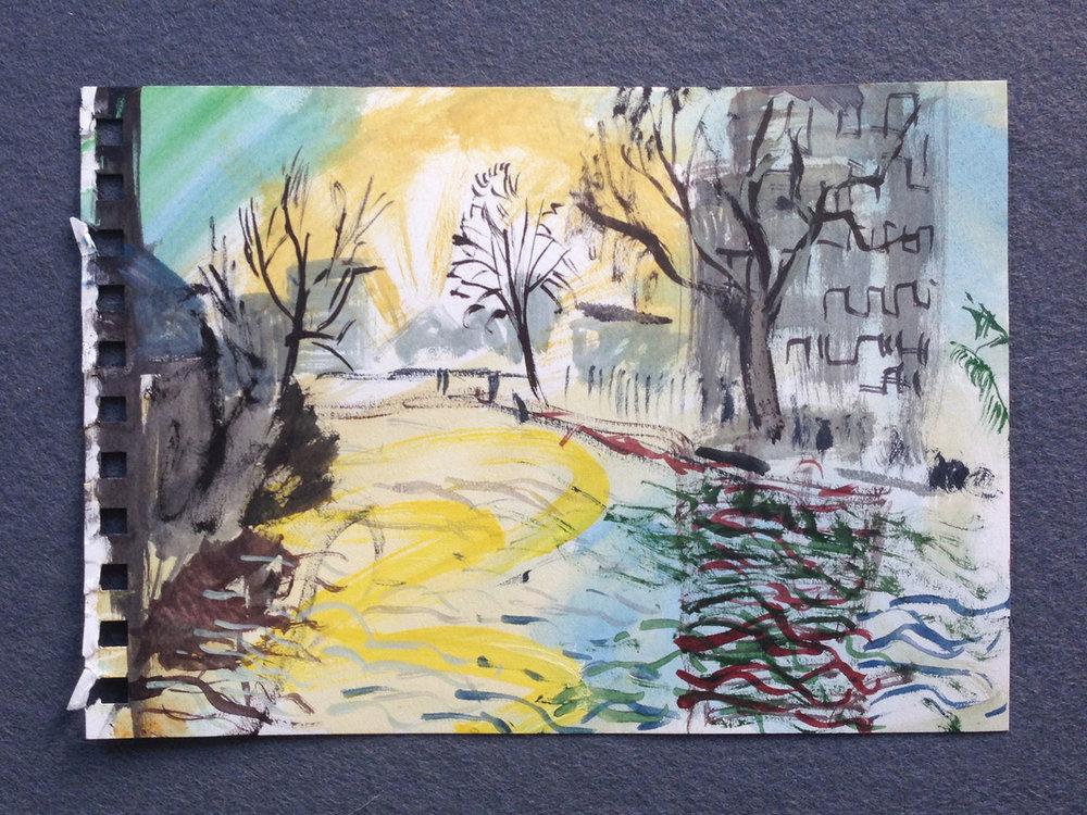 En plein air painting (Victoria Park),  2017, watercolour on paper,15 x 21cm