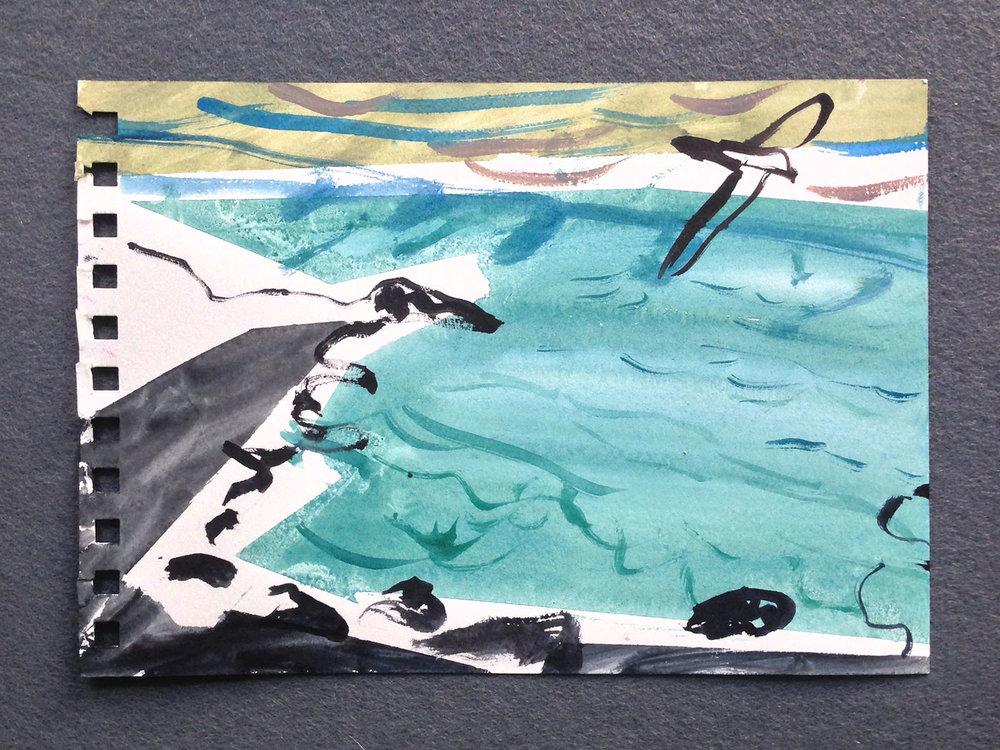 En plein air painting (St Ives) , 2017,watercolour on paper,15 x 21cm