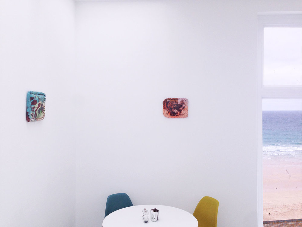Installation view,  Ceramic Pasty Paintings , 2017, café - Tate St Ives