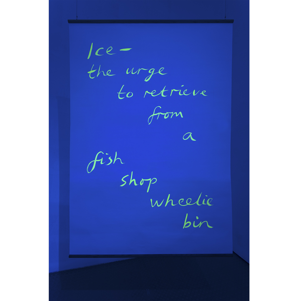 Black light poem (urge),  2017, UV reactive acrylic on paper, oak beading, photo Jamie Woodley