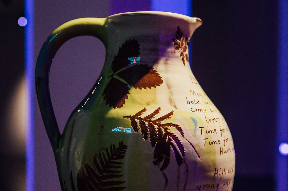 Detail:  Harvest jug , 2018, wheel-thrown terracotta, slips, transparent glaze