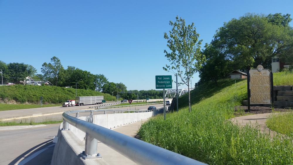 Looking North up Highway 63/54 - bike path to the east