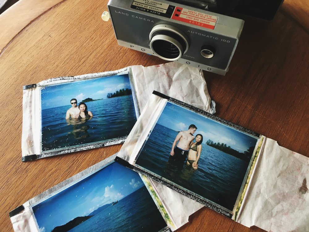 Os noivos fotografados de Polaroid