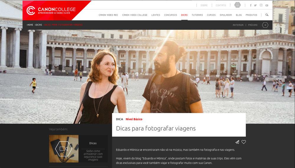 Blog Eduardo e Mônica tá na Canon Brasil