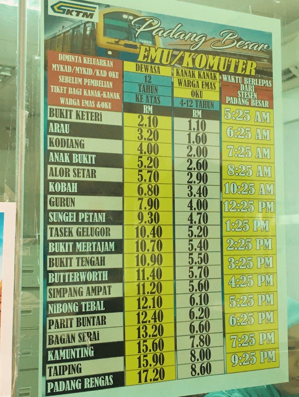 Horários e Valores para Butterworth (Penang)
