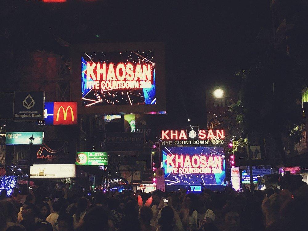 Ano Novo 2018 na Khao San Road, Bangkok