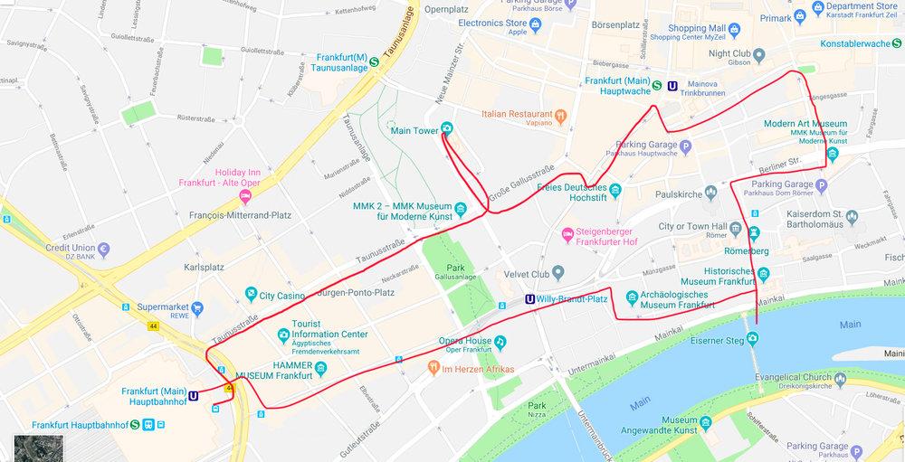 Mapa do Roteiro de Frankfurt em poucas horas