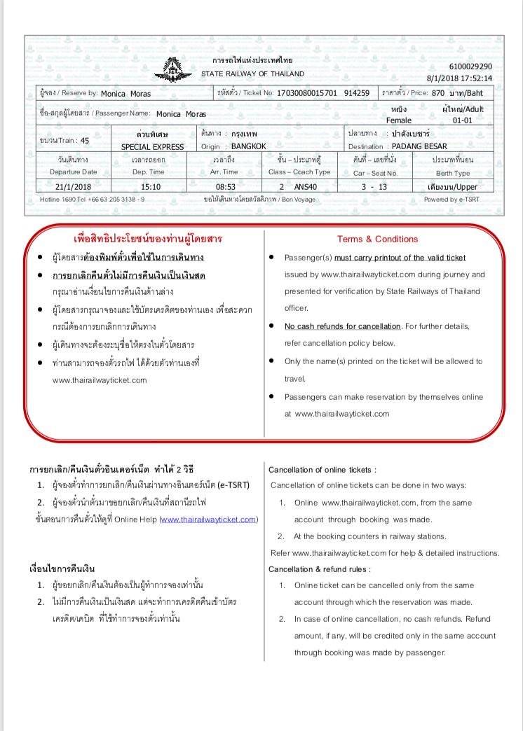 tailandia para malacia trem