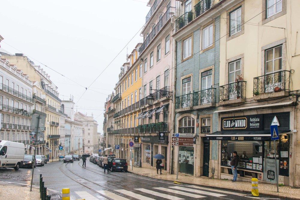 Lisboa com chuva