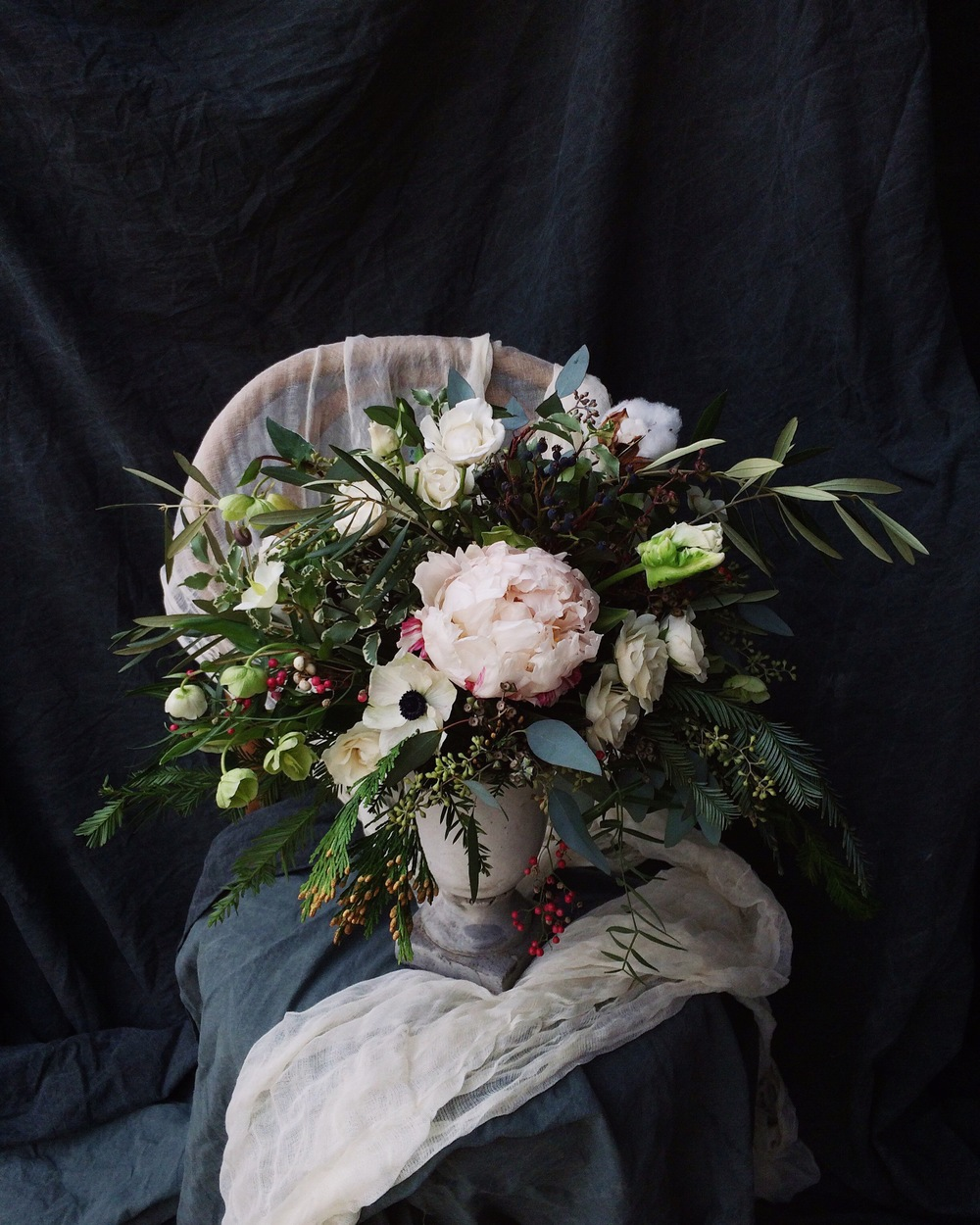 My finished bouquet, with moody styling.