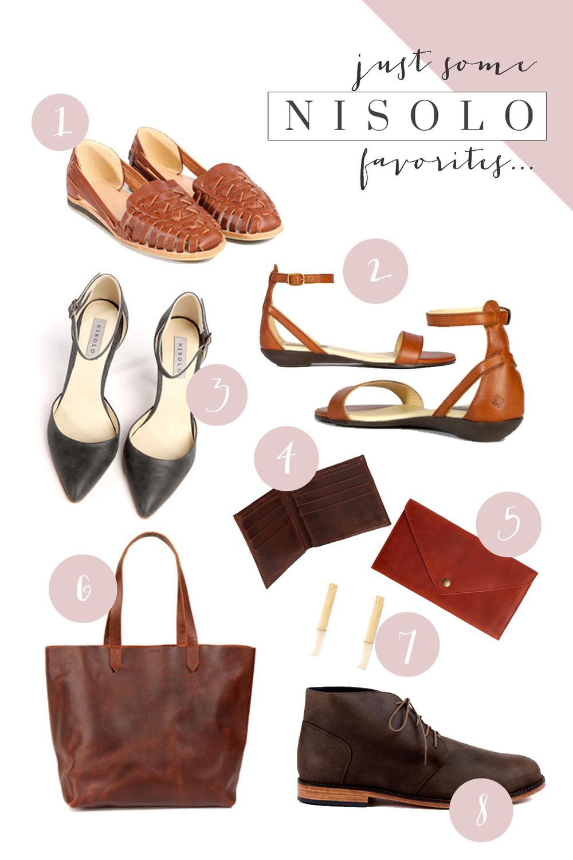 1. Huarache sandal ($98)2. Serena caramel flats ($98)3. Mollie heels ($248)4. Leather wallet ($54)5. Brandy leather clutch ($44)6. Totewell-ish leather tote ($158)7. Rex bone earrings ($58) 8. Emilio Chukka Boot ($178)