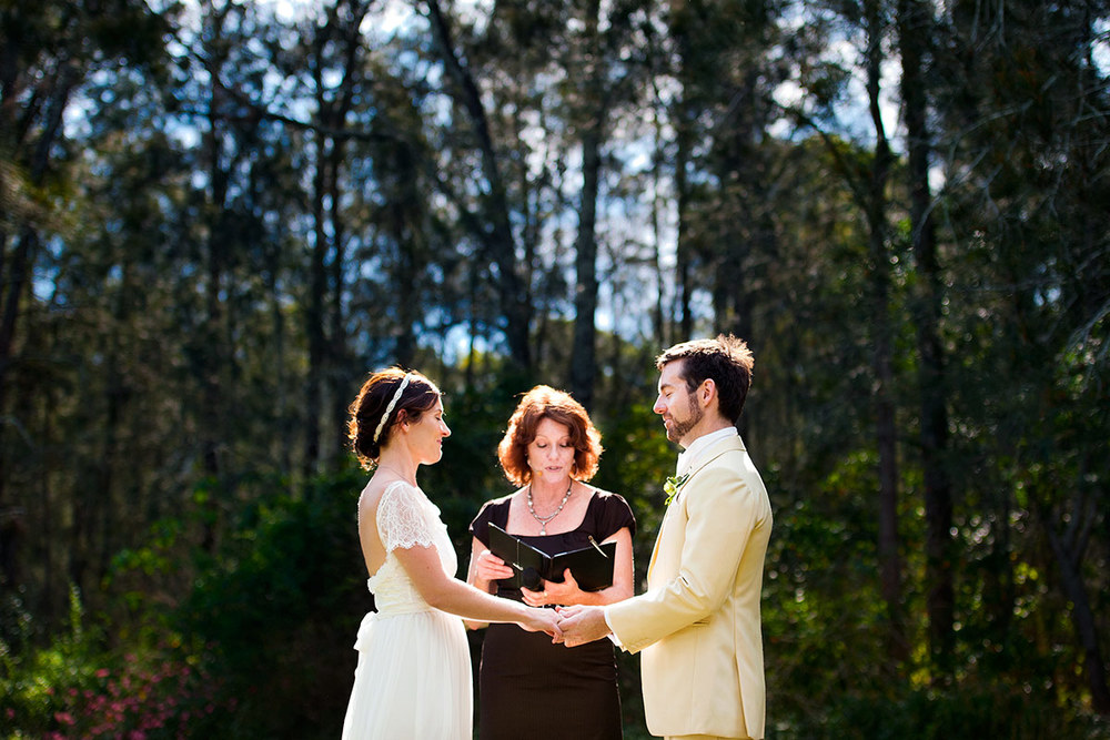 Couple share an intimate moment during their ceremony - Roberts Restaurant, Hunter Valley wedding