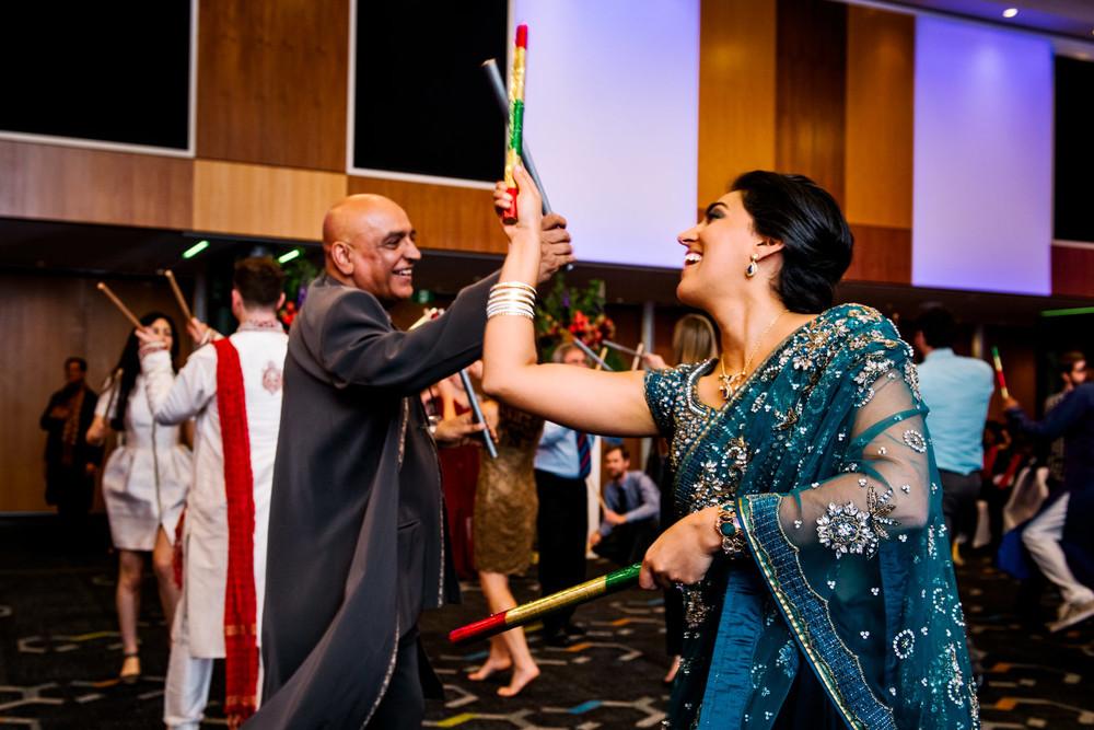 A lively performance of a dandiya raas