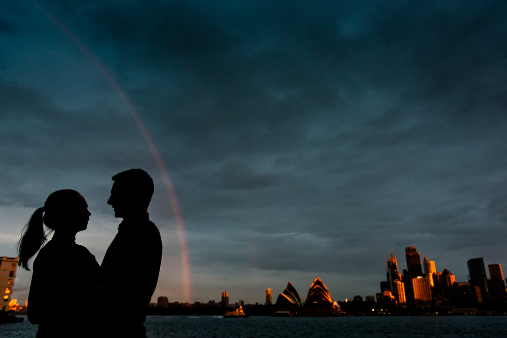 Silhouette of couple with Sydney Harbour background