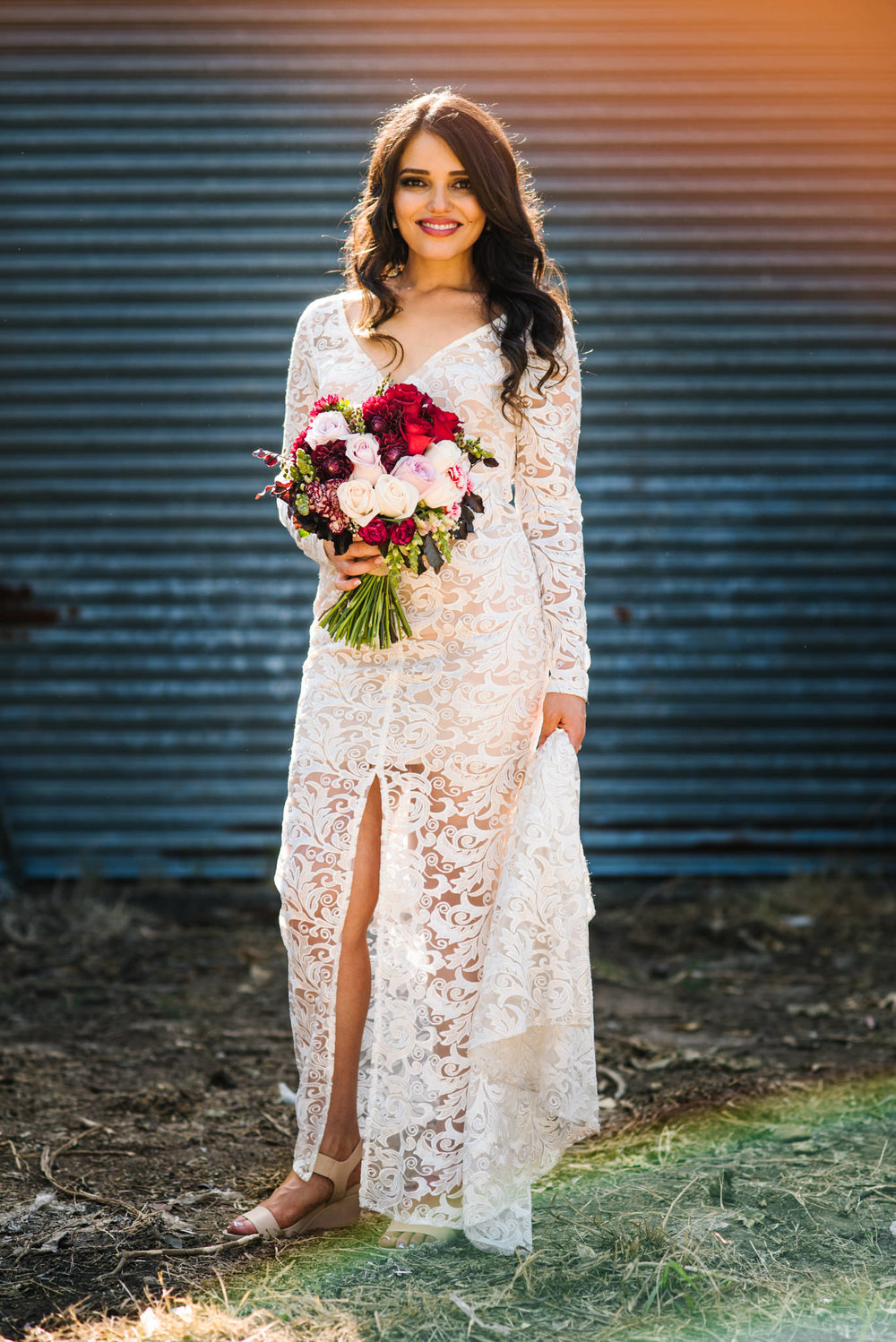 Vintage bridal gown at country wedding.jpg