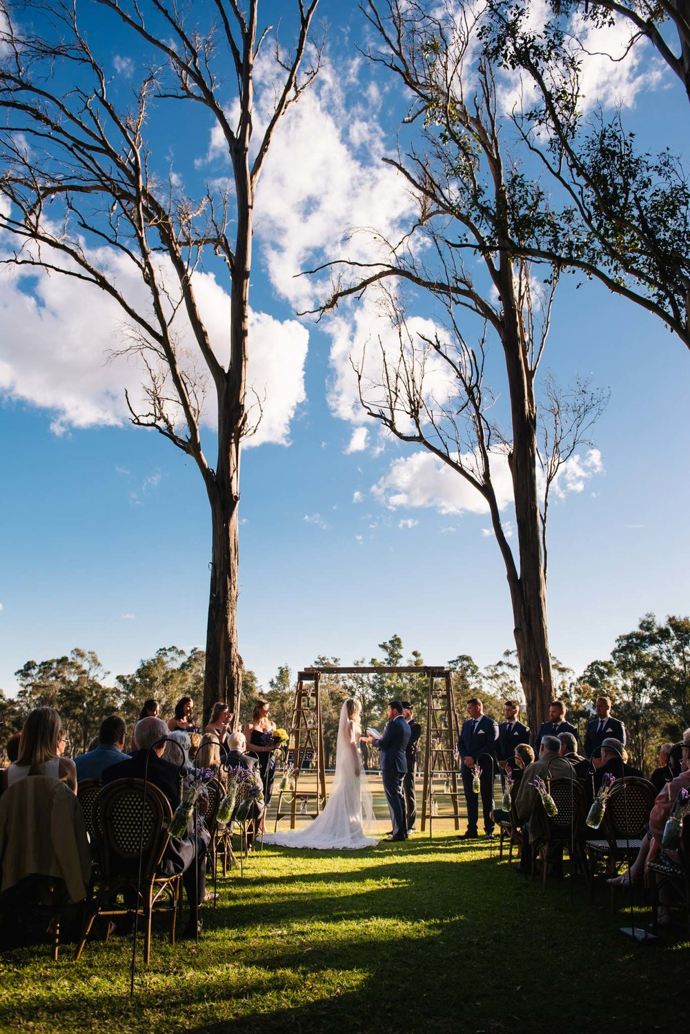 View of wedding ceremony at Wandin Valley Estate