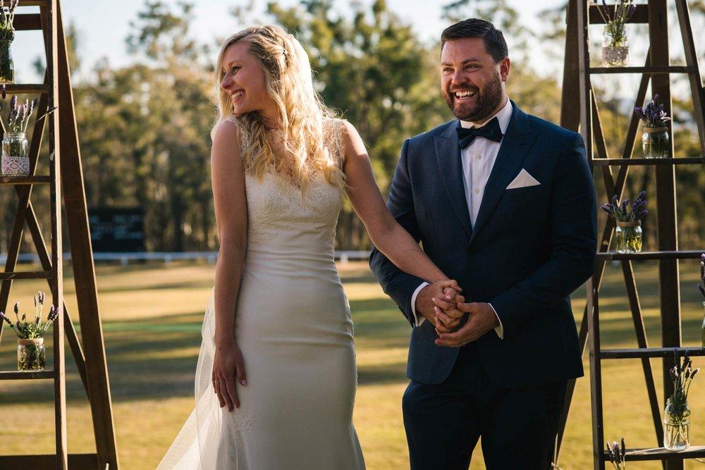 Happy bride and groom after wedding ceremony