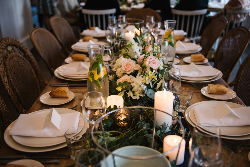 Wedding reception table setting at Watsons Bay Boutique Hotel