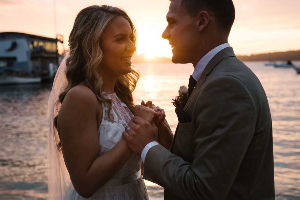 Sunset image of bride and groom