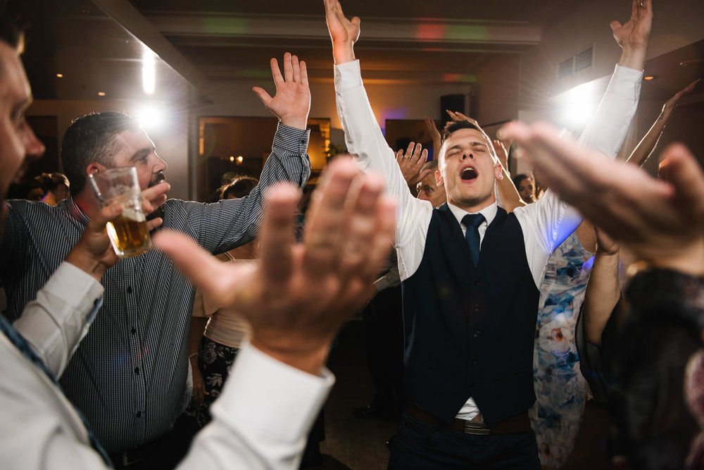 Groom dancing to YMCA