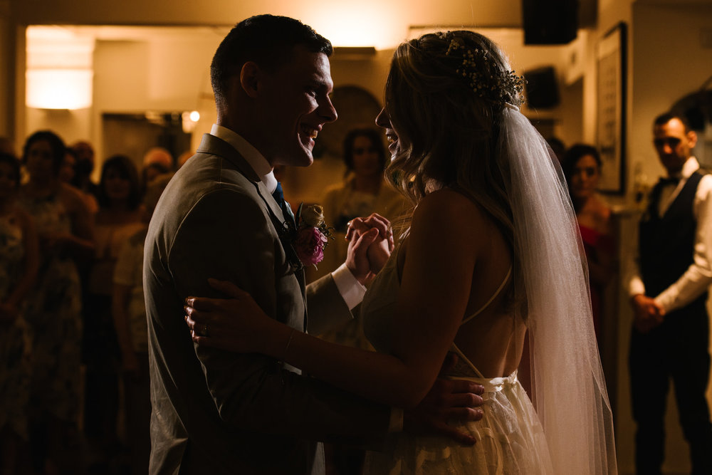 Bride and groom's first dance at Watsons Bay Boutique Hotel