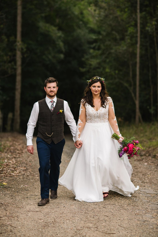 Newlyweds in vintage attire