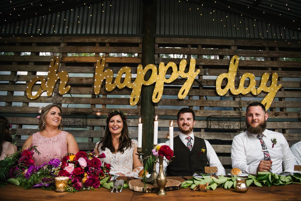 Oh Happy Day sign above bridal table
