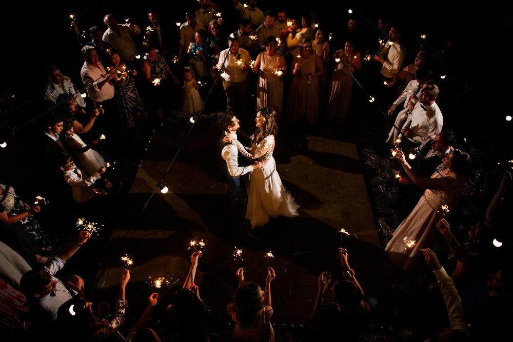 Romantic sparkler first dance