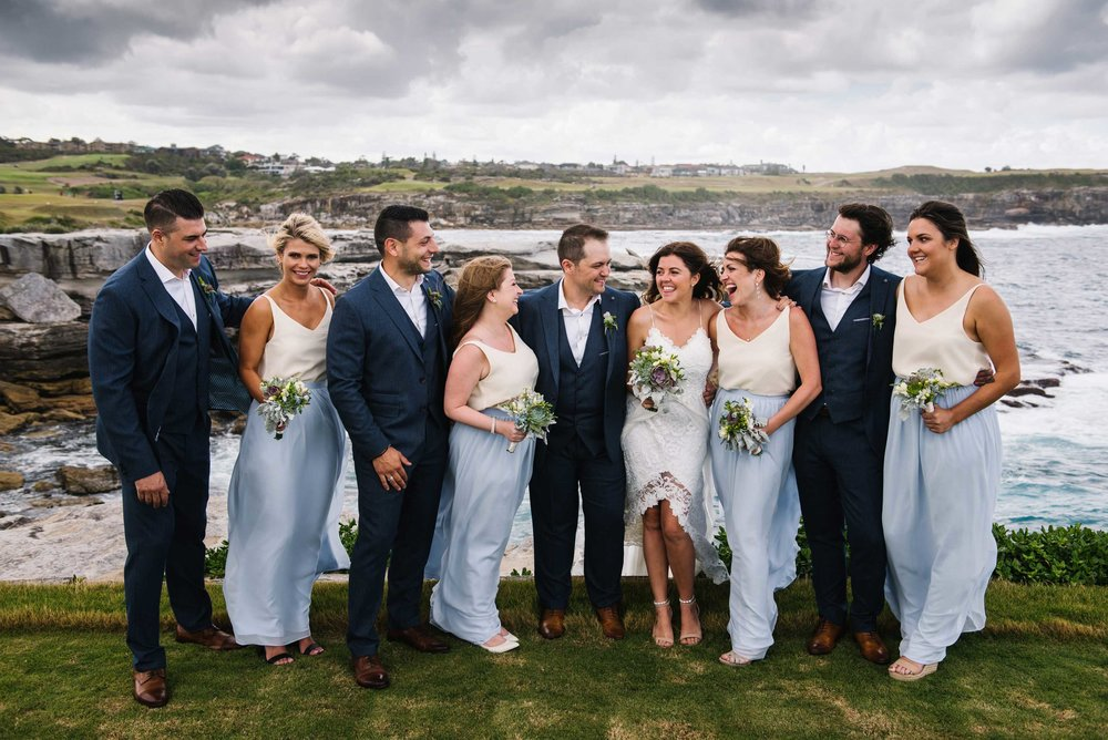 Fun bridal party portrait before Little Bay wedding