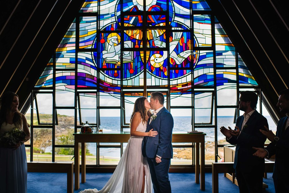 First kiss at Nurses War Memorial Chapel in Little Bay