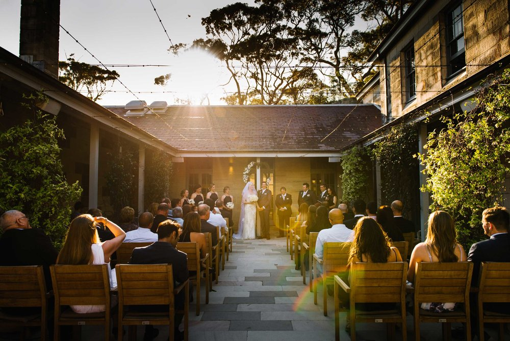 Wedding ceremony in courtyard at Gunners Barracks, Mosman
