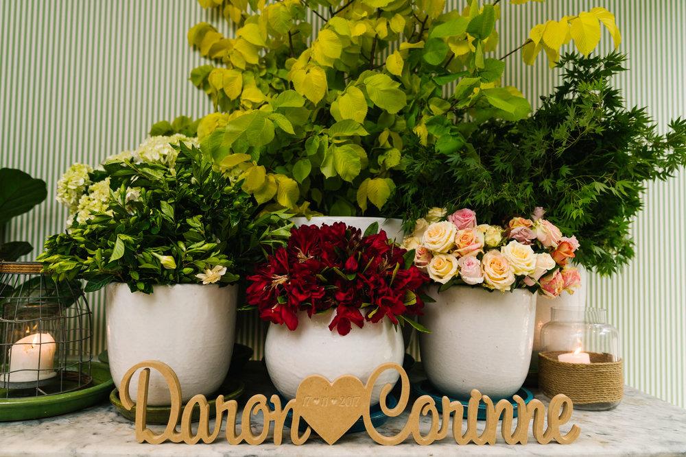 Flower arrangements at Boathouse Shelly Beach reception