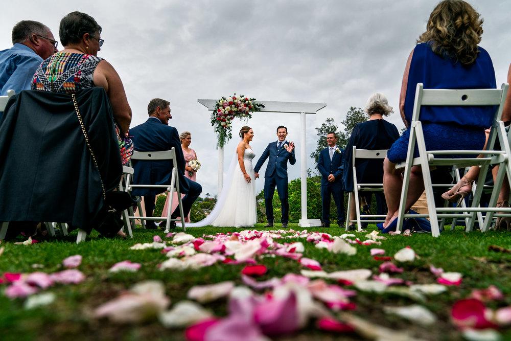 Newlyweds celebrate marriage at Manly wedding