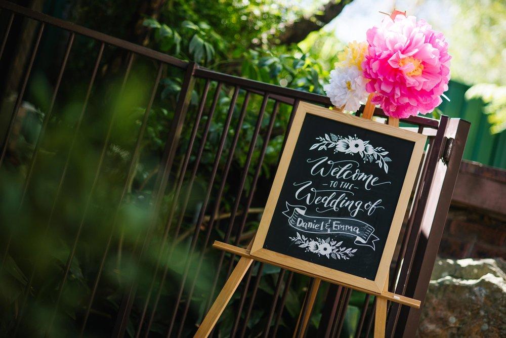Chalkboard wedding entry board