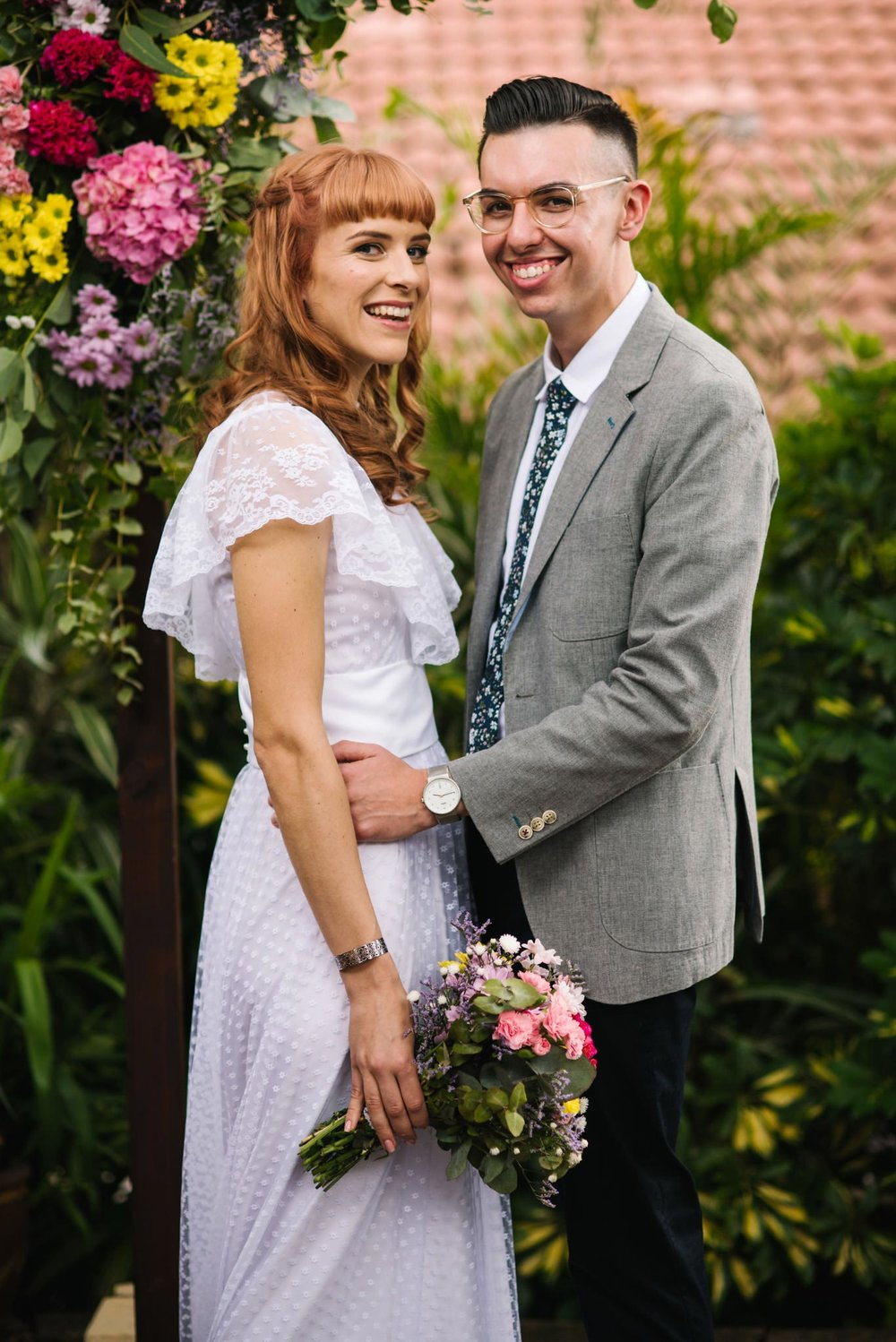 Hipster newlyweds at garden ceremony Sydney