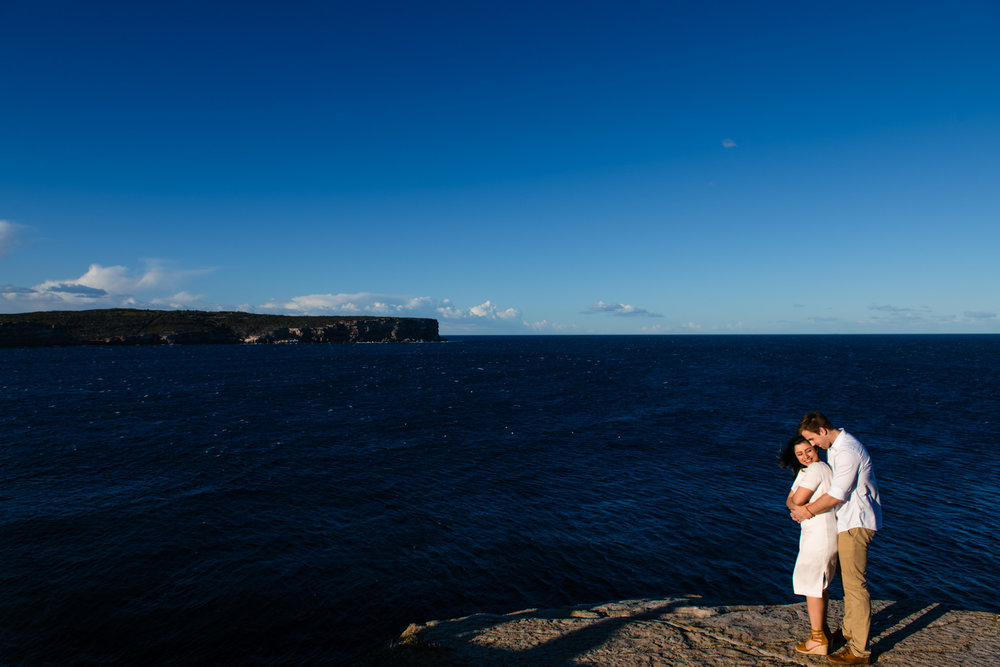 View of North Head and engaged couple