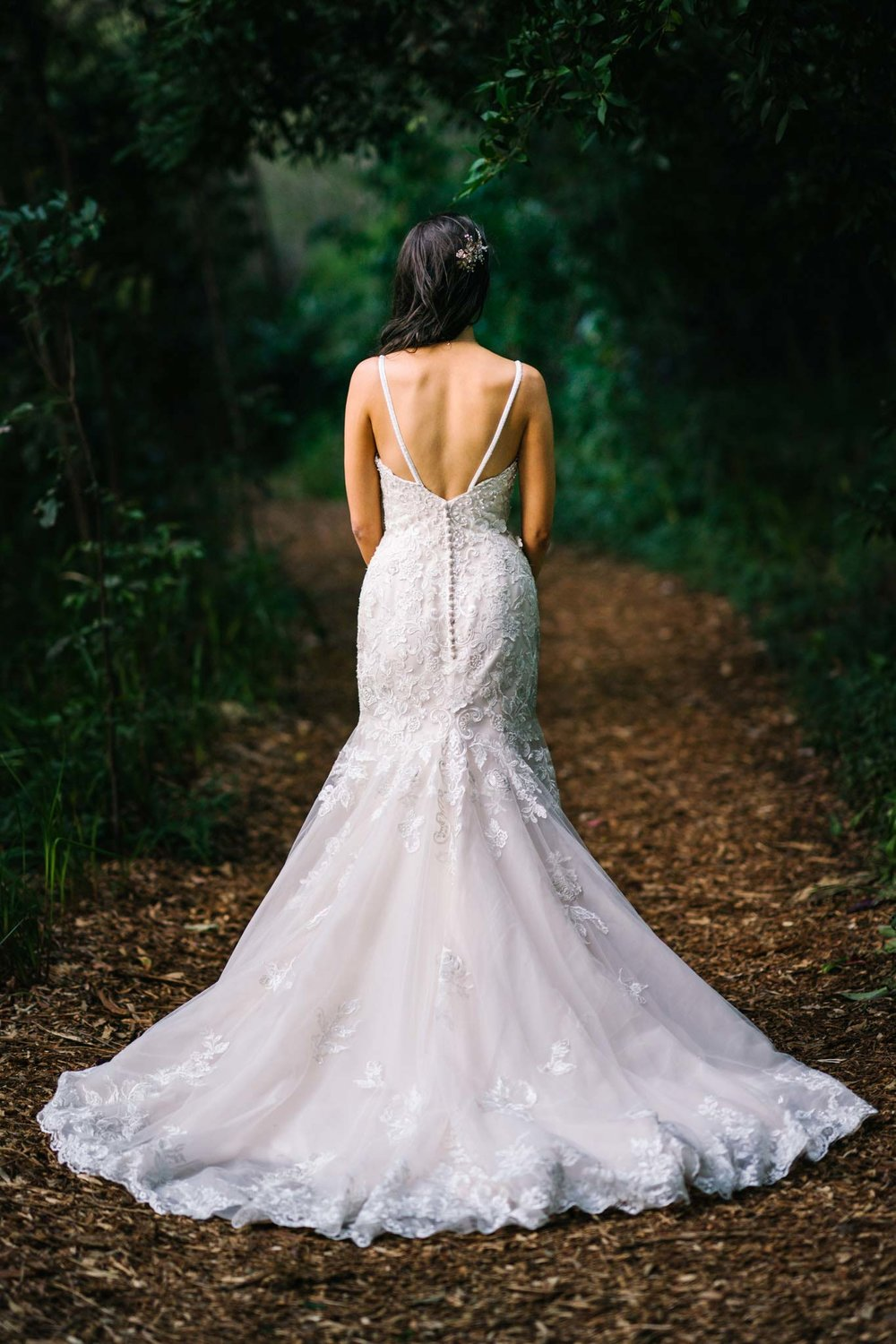 View of back of bride's dress