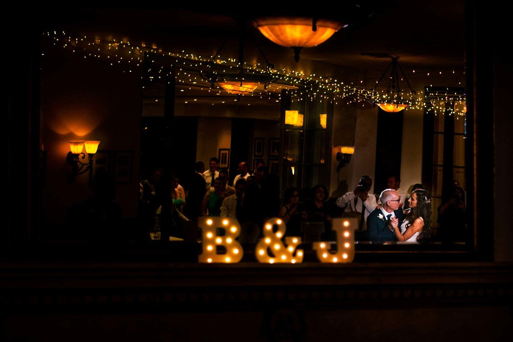 Bride and father dance together at Manly Golf club reception
