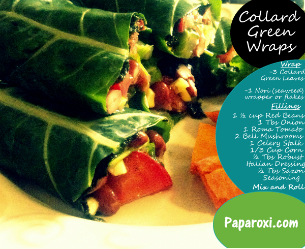 Text Collard Green wraps healthy living recipe vegetarian lunch beens vegan.jpg
