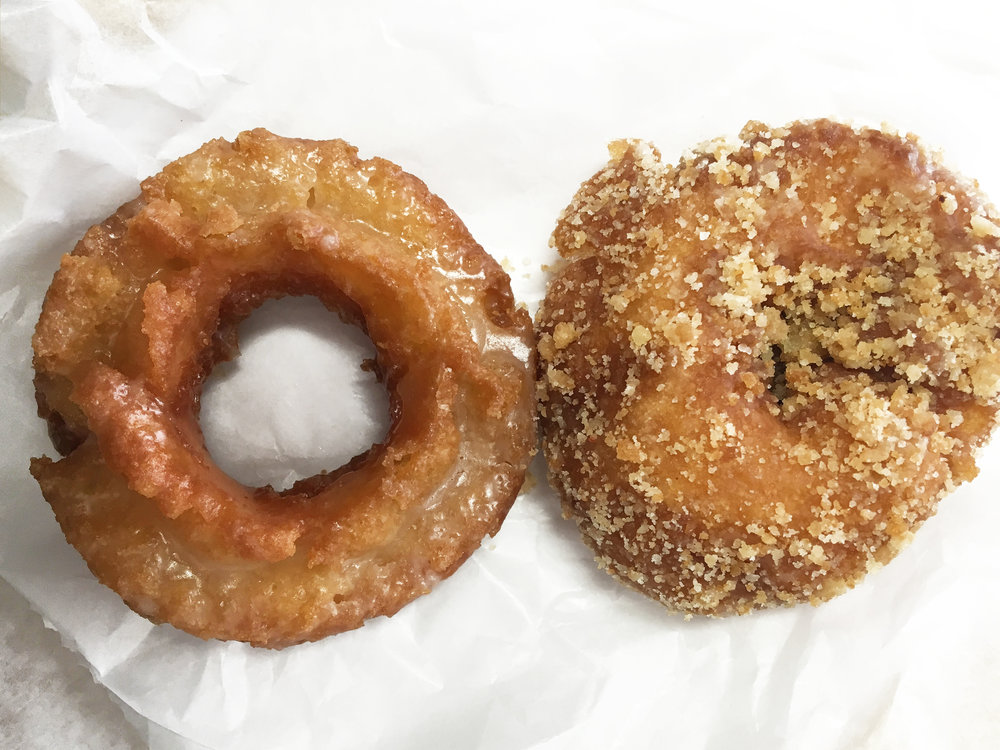 Bob's Donut & Pastry Shop - The Apple Fritters (one of their popular flavors) were sold out by the time I arrived there, so I got myself some Old Fashioned and Cake Crumb donuts to go with my cup of coffee.