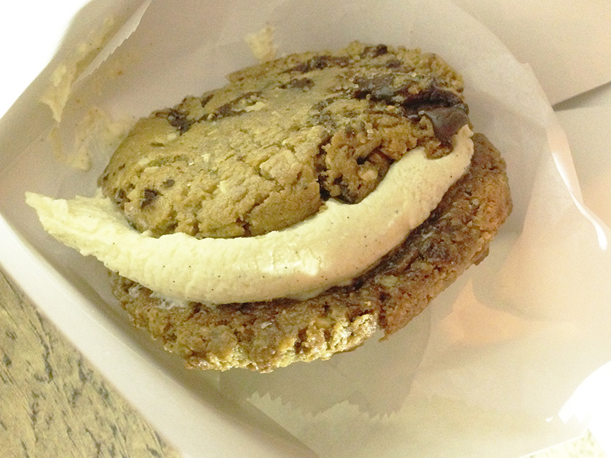 Schmackary's - Just as good as Insomnia Cookies! ...... But still looking for an epic Cookie-Ice-Cream-Sandwich place in New York. Where does one go for this? Any recommendations? #NomNom The picture is the Peanut Butter and White Chocolate Vanilla Cookies with Vanilla Ice cream.