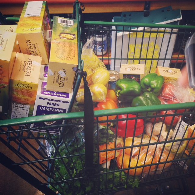 An Instagram picture of our cart during one of our grocery shopping stops