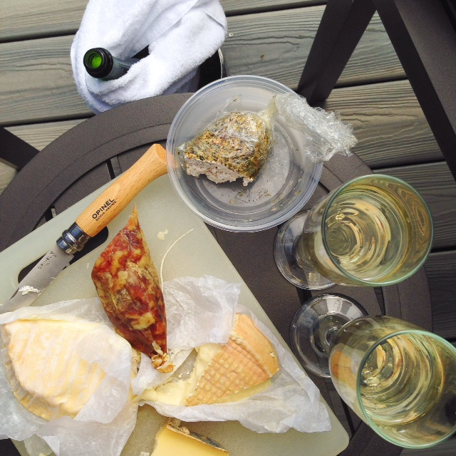 Patio Cheese plate and bubbles