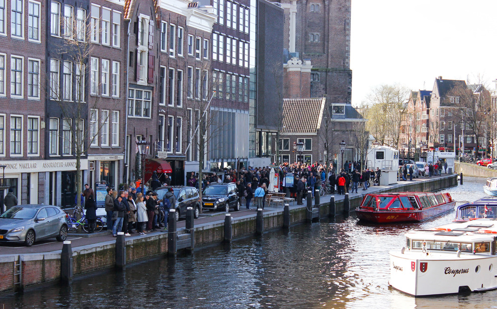 The line to get into the Anne Frank House. It wrapped around the corner and past the church